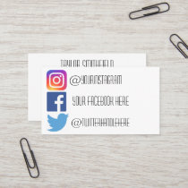 Instagram facebook twitter business card