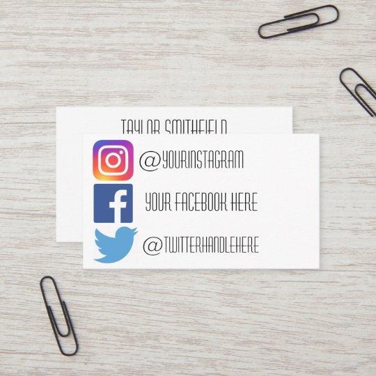 Instagram Facebook Twitter Business Card Zazzle