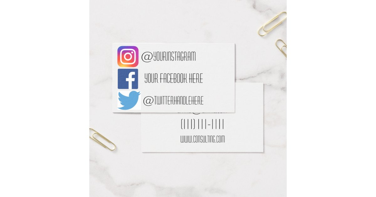 Instagram facebook twitter business card | Zazzle.com