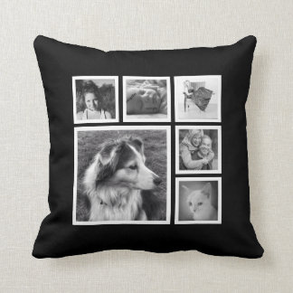 Instagram Family Photo Collage with Featured Image Throw Pillow