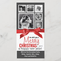 Instagram Family Photos Red Ribbon Christmas Holiday Card