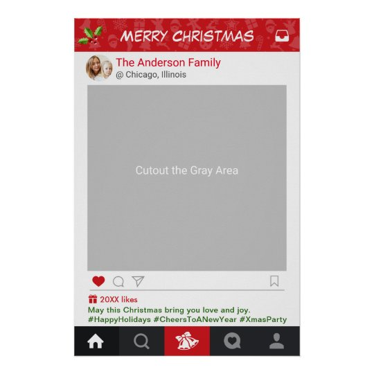 Instagram Frame Christmas Party Photo Booth Poster Zazzlecom