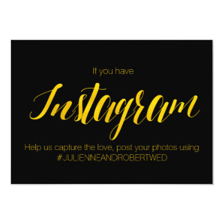 """Instagram Hashtag"" Faux Gold Foil Wedding Sign Card"