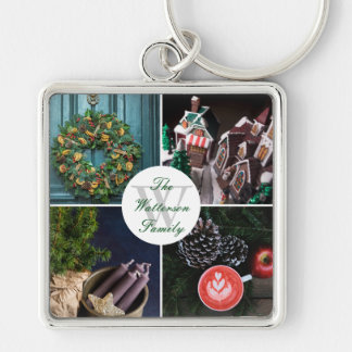 Instagram Hygge Christmas Personalized Photo Grid Keychain
