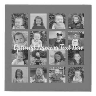 Instagram Photo Collage - 16 photos Can Edit Color Faux Canvas Print