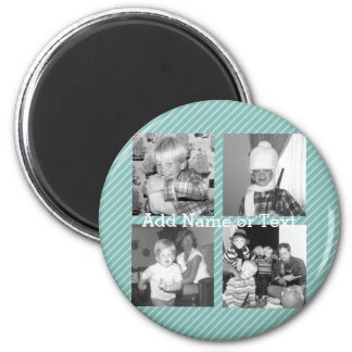 Instagram Photo Collage 4 pictures - blue stripes 2 Inch Round Magnet