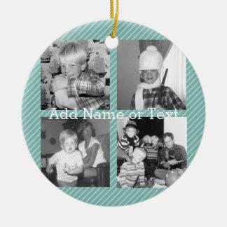 Instagram Photo Collage 4 pictures - blue stripes Ceramic Ornament