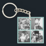 """Instagram Photo Collage 4 pictures - blue stripes Keychain<br><div class=""""desc"""">Light Blue Pinstripes - Use four square photos to create a unique and personal gift. Or you can keep the hipster puppy and make a trendy keepsake. If you need to adjust the pictures,  click on the customize tool to make changes.</div>"""