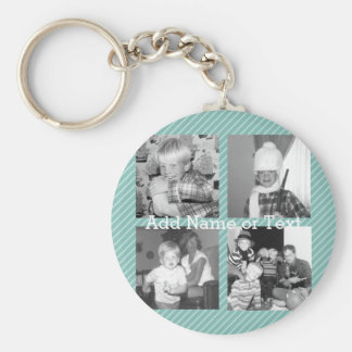 Instagram Photo Collage 4 pictures - blue stripes Keychain