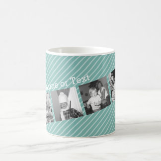 Instagram Photo Collage 4 pictures - blue stripes Classic White Coffee Mug