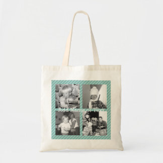 Instagram Photo Collage 4 pictures - blue stripes Tote Bag