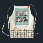 """Instagram Photo Collage 4 pictures - blue stripes Zazzle HEART Apron<br><div class=""""desc"""">Light Blue Pinstripes - Use four square photos to create a unique and personal gift. Or you can keep the hipster puppy and make a trendy keepsake. If you need to adjust the pictures,  click on the customize tool to make changes.</div>"""