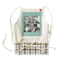 Instagram Photo Collage 4 pictures - blue stripes Zazzle HEART Apron