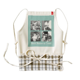 Instagram Photo Collage 4 Pictures - Blue Stripes Zazzle Heart Apron at Zazzle