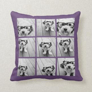 Instagram Photo Collage 9 photos Aubergine Purple Throw Pillow