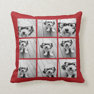 Instagram Photo Collage 9 photos Classic Red Throw Pillow
