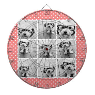 Instagram Photo Collage and Sweet Coral Polka Dots Dartboard With Darts