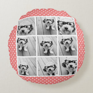 Instagram Photo Collage and Sweet Coral Polka Dots Round Pillow