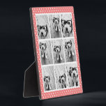 "Instagram Photo Collage and Sweet Coral Polka Dots Plaque<br><div class=""desc"">Use 9 of your photos without frames to create your own piece of art! Add your favorite pictures and snapshots to this strip for a fun memory keeper. An artistic way to display your best photo sharing pics.</div>"