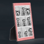 """Instagram Photo Collage and Sweet Coral Polka Dots Plaque<br><div class=""""desc"""">Use 9 of your photos without frames to create your own piece of art! Add your favorite pictures and snapshots to this strip for a fun memory keeper. An artistic way to display your best photo sharing pics.</div>"""