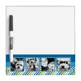 Instagram Photo Collage Colorful Chevrons Dry-Erase Board