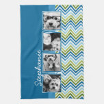 Instagram Photo Collage Colorful Chevrons Hand Towel