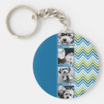 Instagram Photo Collage Colorful Chevrons Keychain