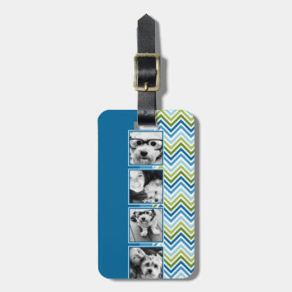Instagram Photo Collage Colorful Chevrons Luggage Tag