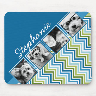 Instagram Photo Collage Colorful Chevrons Mouse Pad