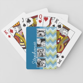 Instagram Photo Collage Colorful Chevrons Poker Deck