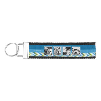 Instagram Photo Collage Colorful Chevrons Wrist Keychain