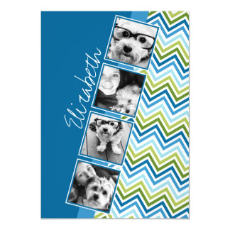 Instagram Photo Collage Colorful Chevrons Magnetic Invitations
