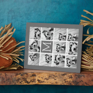Instagram Photo Collage Custom Monogram Charcoal Display Plaques