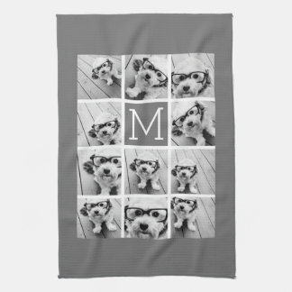 Instagram Photo Collage Custom Monogram Charcoal Hand Towel