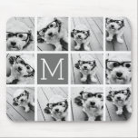 "Instagram Photo Collage Custom Monogram Charcoal Mouse Pad<br><div class=""desc"">Use up to 11 square or selfie phone photos to create a unique and personal gift. Or you can keep the hipster puppy and make a trendy keepsake. If you need to adjust the pictures,  click on the customize tool to make changes.</div>"