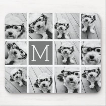 Instagram Photo Collage Custom Monogram Charcoal Mouse Pad