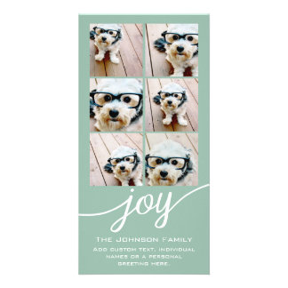 Instagram Photo Collage Holiday Joy Mint Green Card