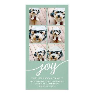 Instagram Photo Collage Holiday Joy Mint Green Custom Photo Card