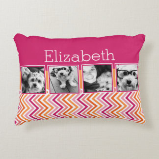 Instagram Photo Collage Hot Pink Orange Chevrons Accent Pillow