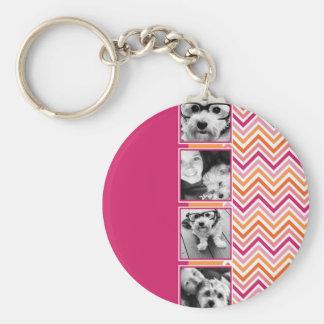 Instagram Photo Collage Hot Pink Orange Chevrons Basic Round Button Keychain