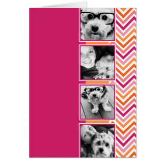 Instagram Photo Collage Hot Pink Orange Chevrons Greeting Card