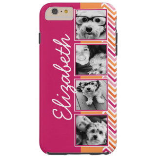 Instagram Photo Collage Hot Pink Orange Chevrons Tough iPhone 6 Plus Case