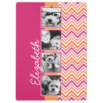 Instagram Photo Collage Hot Pink Orange Chevrons Clipboard