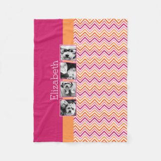 Instagram Photo Collage Hot Pink Orange Chevrons Fleece Blanket