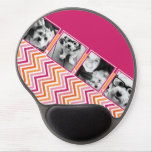Instagram Photo Collage Hot Pink Orange Chevrons Gel Mousepads