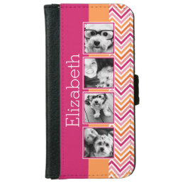 Instagram Photo Collage Hot Pink Orange Chevrons iPhone 6/6s Wallet Case