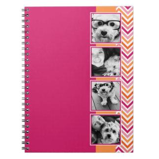 Instagram Photo Collage Hot Pink Orange Chevrons Spiral Notebook