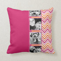 Instagram Photo Collage Hot Pink Orange Chevrons Throw Pillow