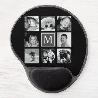 Instagram Photo Collage Monogram Black & White Gel Mouse Pad