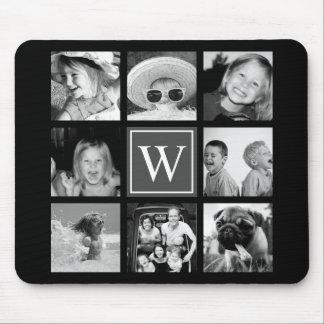 Instagram Photo Collage Monogram Black & White Mouse Pad